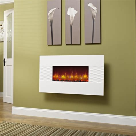 white wall mounted deluxe 36 inch wall mounted electric fire gloss white