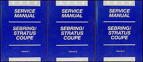 where to buy car manuals 2002 chrysler sebring instrument cluster 2002 sebring stratus coupe repair shop manual original 3 volume set