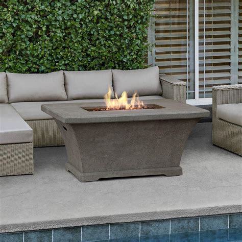 diy rectangle pit table real monaco 55 in fiber concrete rectangle chat height propane gas pit in glacier