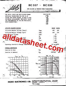 bc337 npn transistor datasheet pdf bc337 datasheet pdf micro electronics