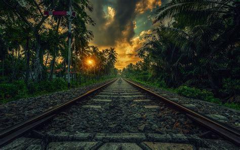wallpaper for walls sri lanka nature landscape railway sunset palm trees