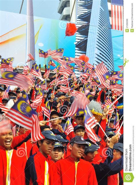 Malaysia National Day Celebration In School Essay by Students Waving Malaysia Flags During National Day Editorial Stock Image Image 21200289