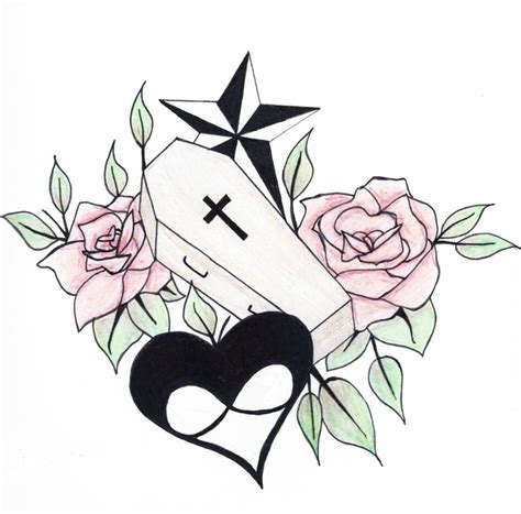 coffin rose tattoo design drawing by perggals stacey turner