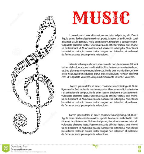 music infographic template with treble clef stock vector