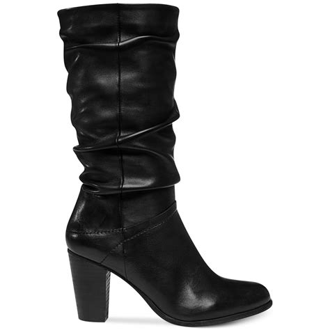 womens slouch boots steve madden womens loretta slouch boots in black lyst