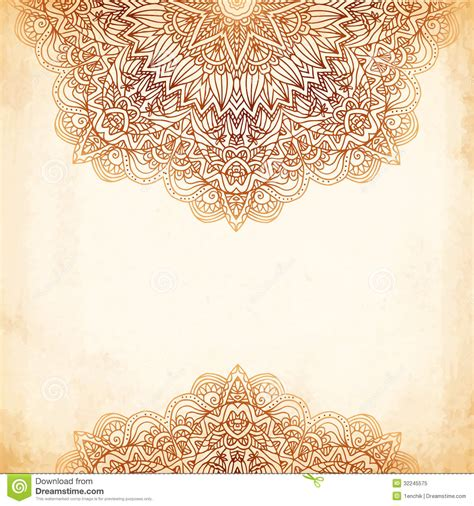 ornate vintage vector background in mehndi style royalty