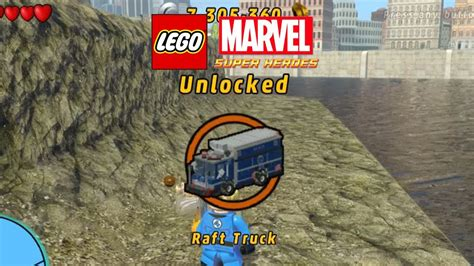 lego marvel boat unlock lego marvel unlock raft truck gameplay youtube