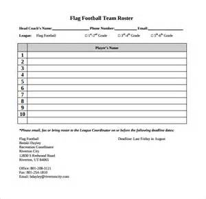 football team template sle football roster template 9 free documents