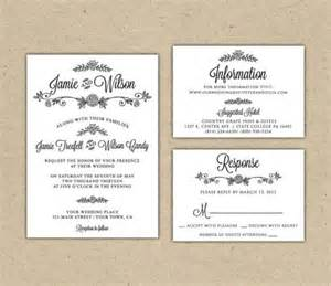 diy printable wedding invitations templates modern country chic wedding invitation and rsvp printable