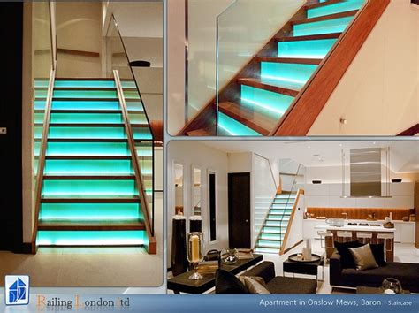 stairs  glass risers  led lights modern