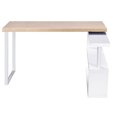 corner office desk and bookshelf in wood and white buy