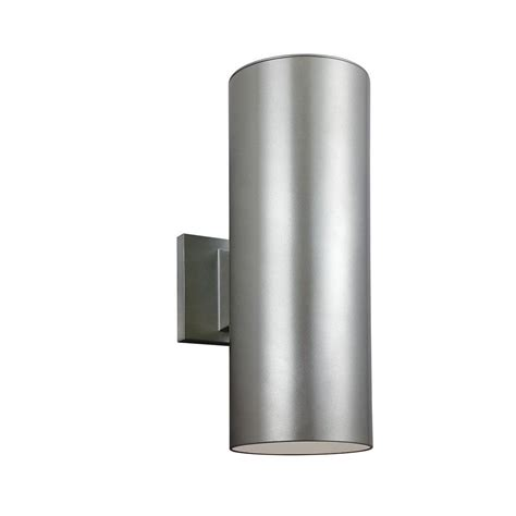 brushed nickel outdoor light fixtures sea gull lighting outdoor cylinder collection 2 light