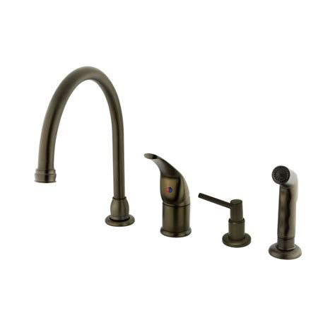 rubbed bronze kitchen faucet shop elements of design rubbed bronze 1 handle high arc kitchen faucet with side spray and