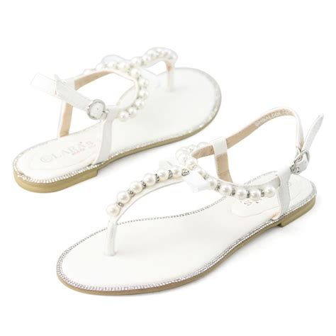 Flat Wedding Sandals For by Womens White Rhinestone Flat Pearl Leather Sandals Wedding