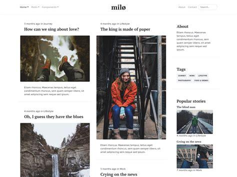 themes get bootstrap milo magazine blog theme bootstrap themes