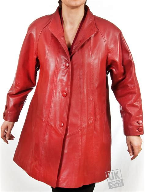womens leather swing coat womens red leather swing coat plus size delia uk lj