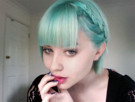 turcquoise short hair styles pale aqua braided hair aqua pinterest bobs