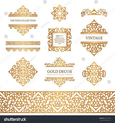 gold vintage design elements vector vintage gold borders frames set decorative stock vector