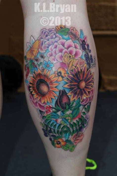 tattoo cover up ken barlow my new one flower sugar skull tattoo done by kenneth