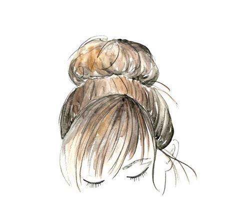 hairstyles watercolor watercolor sketch hair beauty bun art 8 x 10 by
