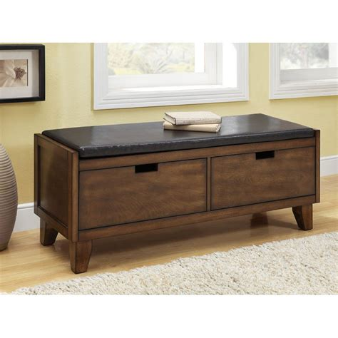 Cushion Storage Bench Monarch 2 Drawer Wood Storage Bench With Cushion Walnut Indoor Benches At Hayneedle