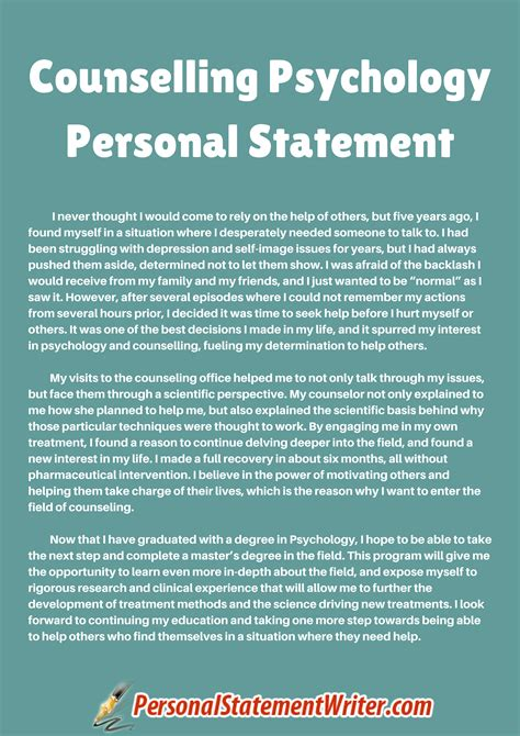 this counselling psychology personal statement sle will