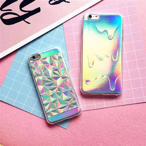 Geometric Softcase Iphone 5 5s 6 6s 6 6s 7 7 8 8 Plus new geometric for iphone 7 6 6s plus 5 5s holographic iridescent card rainbow 3d