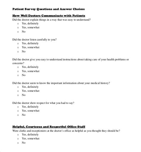 Survey Questions - survey questions template 10 free word excel pdf documents download free