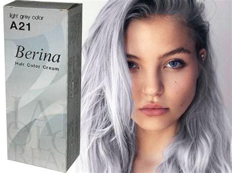 Berina Permanent A21 Color New Hair Dye Cream Light Grey