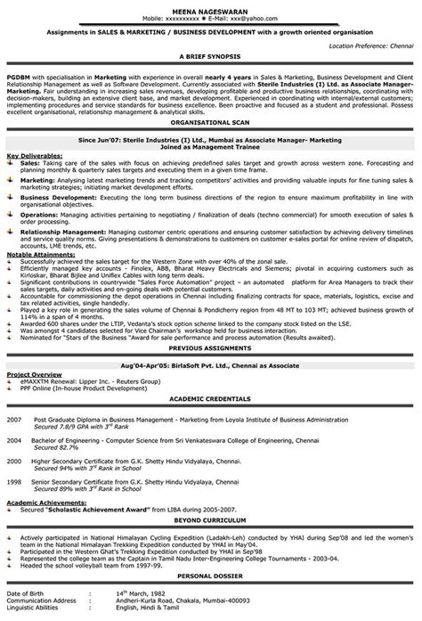 resume for sales and marketing in word format sales resume format sles cv sle regional manager mid