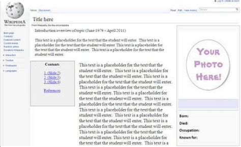 wikipedia project template students can create fake