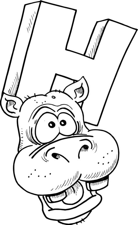 hippo head picture coloring page netart