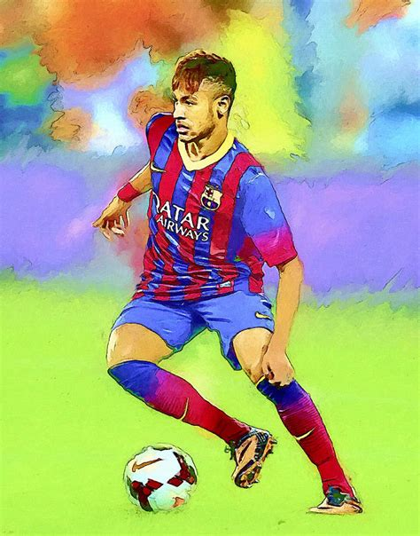 Football Artwork Messi 1 neymar football soccer landscape painting painting by