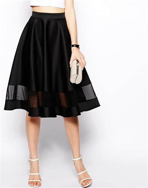 Color Panel Midi Skirt lyst asos midi skirt in scuba with sheer panel in black