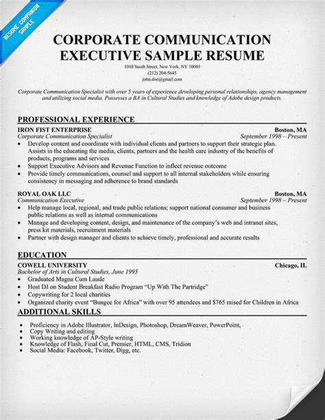 resume format for corporate corporate communication cover letter
