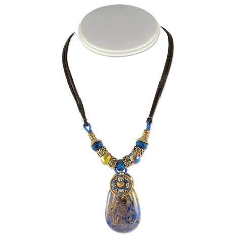16 Necklace Gold Blue teardrop murano style glass pendant necklace 16 quot cobalt
