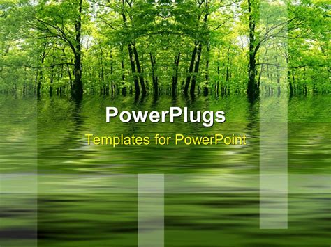 Powerpoint Template Green Lake In A Forest As A Metaphor With A Yellow Background 21288 Nature Powerpoint Templates