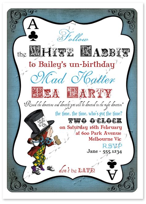 mad hatter card template mad hatter invitation