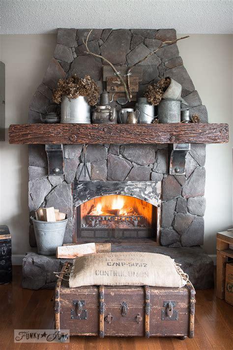 metal filled winter fireplace mantelfunky junk interiors