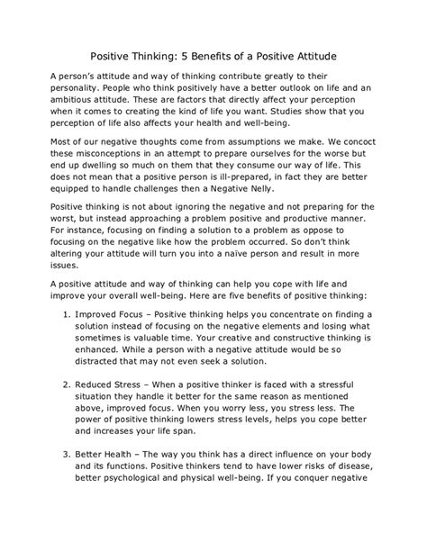 Positive Thinking Essays by Positive Thinking 5 Benefits Of Positive Attitude