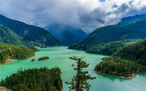 landscape nature green lake mountain forest clouds