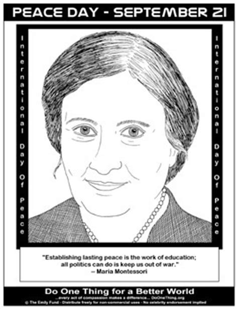 printable picture maria montessori do one thing peace day september 21