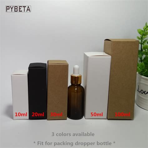 Big Promo 10 Ml Neroli Essential 100pcs 10ml 20ml 30ml 50ml 100ml white black kraft paper box for dropper bottle essential