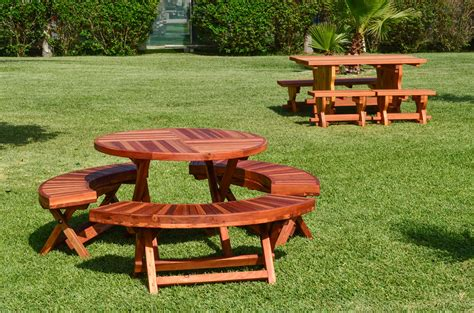 redwood picnic tables and benches round wood folding picnic table with curved benches