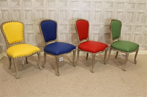 Leather Dining Chair Upholstered French Style Bright Coloured Dining Chairs