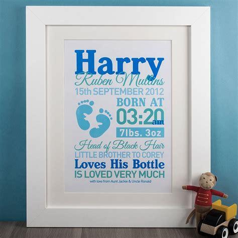 Wood Frame Poster Custom Happy Baby Born personalised baby boy print gettingpersonal co uk
