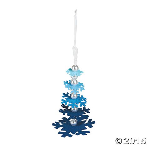 blue snowflake layered christmas ornament craft kit 6 pk