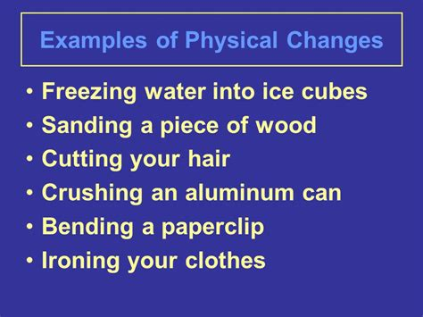 exle of physical change can you change your matter ppt