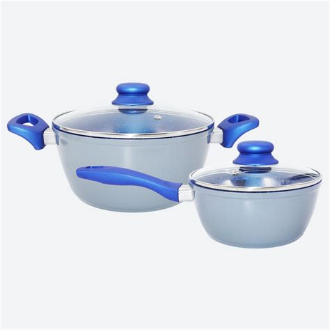 Cooking Set Alumunium cookware set 4 non stick blue marble ceramic forged aluminum pots incrediblebuys