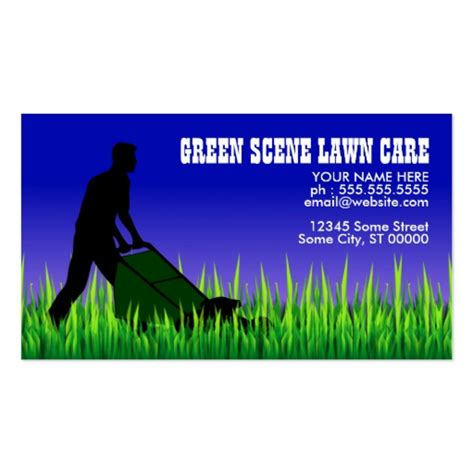 lawn care business card templates green lawn care business cards